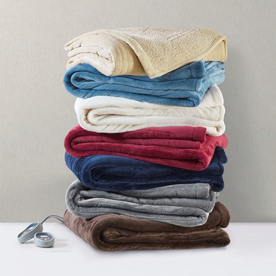 Beautyrest Heated Microlight to Berber Blanket in Grey, Full BR54-0417
