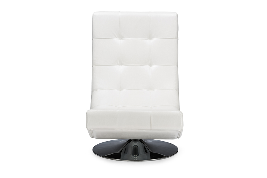 Baxton Studio Baxton Studio Elsa Modern and Contemporary White Faux Leather Upholstered Swivel Chair with Metal Base