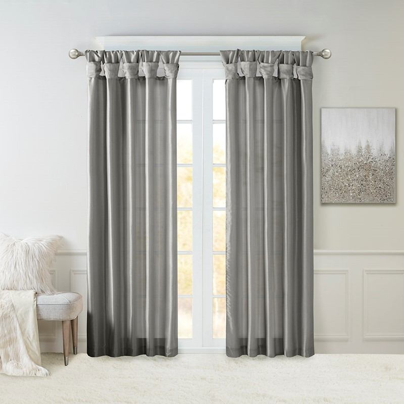 "Madison Park Emilia Twist Tab Lined Window Curtain in Charcoal, 84"" Panel MP40-6556"