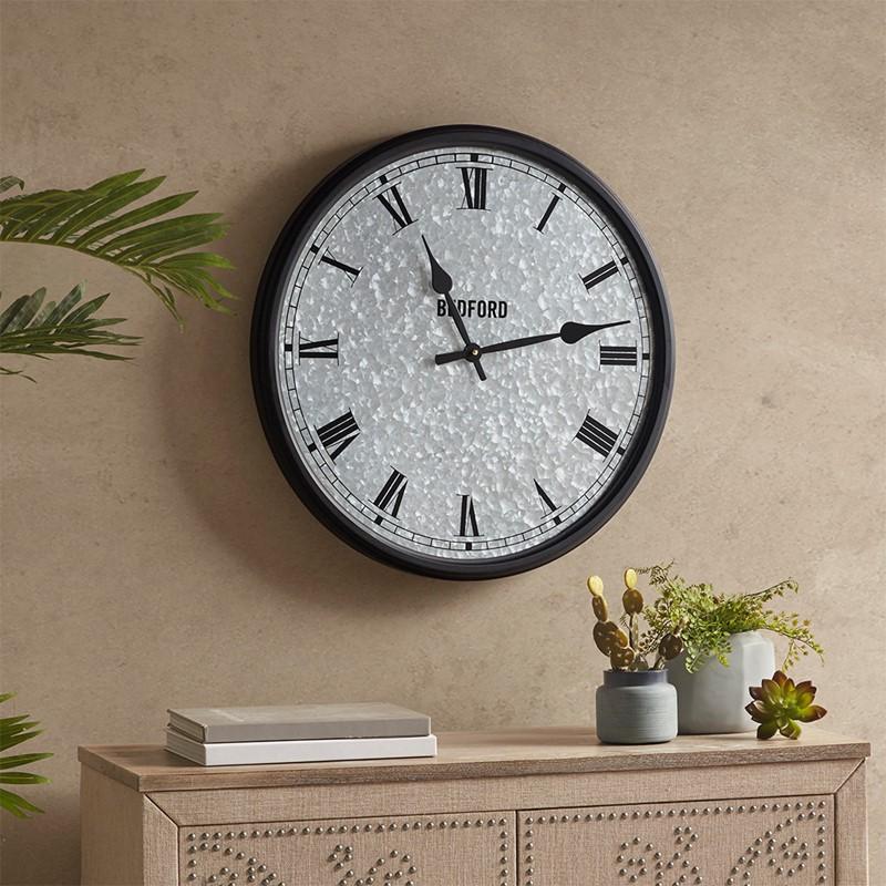 Martha Stewart Otis Galvanized Round Clock in Silver / Black MT161-0018